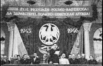 Президиум торжественного заседания, посвящённого завершению деятельности Союза польских патриотов в СССР