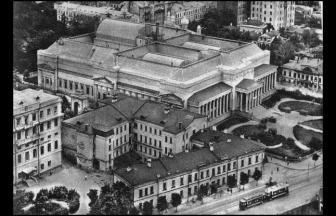 Комакадемия на Волхонке, 14 — крайний слева дом. Фото: PastVu