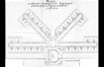 План 4-го этажа главного корпуса Московской Лефортовской тюрьмы. План: ГАРФ. Ф. Р4042. Оп. 3. Д. 705