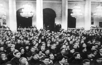 Судебный процесс над членами Союзного бюро ЦК РСДРП (меньшевиков) в Колонном зале Дома Союзов. Москва (1931)