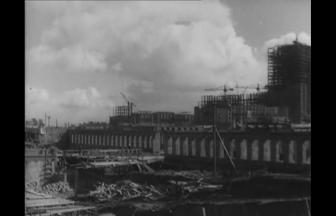 Строительство корпуса Биологического факультета.1949–1953 гг. Фото: PastVu