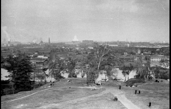 Вид на Лужники с Воробьевых гор. 1950–1951 гг. Фото: Георгий Умнов, PastVu
