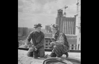 С.О. Фридлянд. Строительство МГУ. 1951–1952 гг. Фото: PastVu