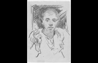 С. Гершов. Курящий зэк. Конец 1940-х гг. Воркута. Бумага, карандаш. Фото: архив общества «Мемориал»