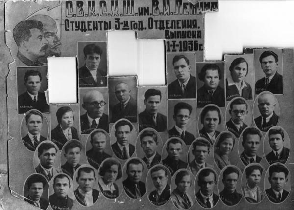 Выпускная фотография студентов трехгодичного отделения Свердловской высшей коммунистической сельскохозяйственной школы. Фото: russianmuseums.info