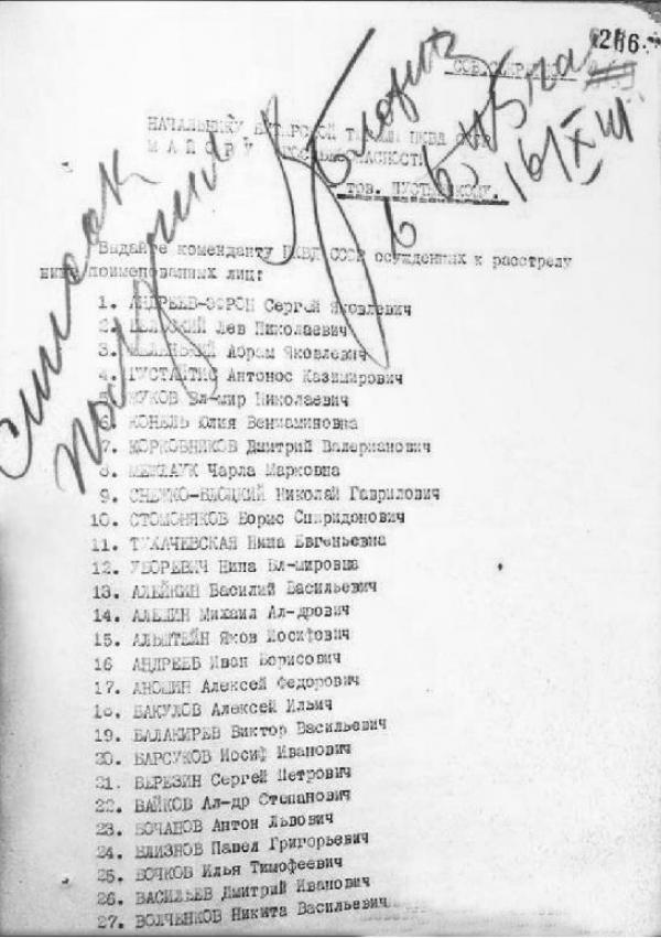 Приказ о выдаче коменданту НКВД поименованных лиц, находящихся в Бутырской тюрьме