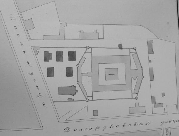План Бутырской тюрьмы из дела с чертежами строений Московской женской тюремной больницы. Фото: ГАРФ. Ф. Р4042. Оп. 3. Д. 675