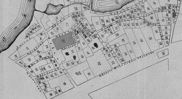 Квартал Новинской тюрьмы. Домовладения тюрьмы 164/171 затемнено