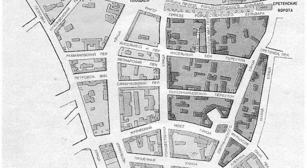 План Лубянского квартала, конец 1920-х годов. Фото: Лубянка, 2. Из истории отечественной контрразведки