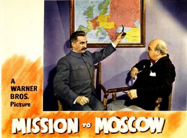 Постер фильма «Миссия в Москву» (1943) Майкла Кертиса по мемуарам посла США Джозефа Дэвиса