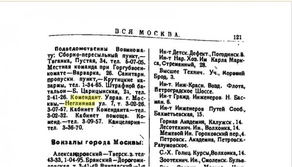 «Вся Москва». 1922 г.