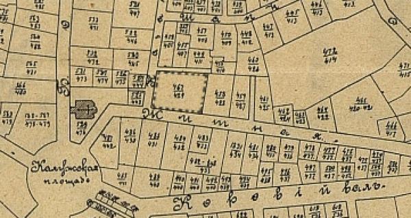 Домовладение полицейского дома 258/239 выделено контуром. Фото: Вся Москва, 1904