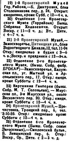 Пролетарские музеи в справочнике «Вся Москва»