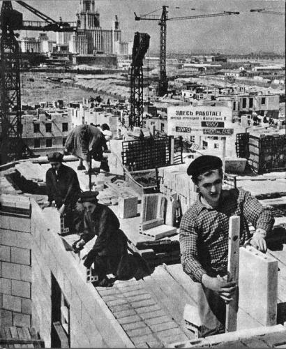 Строительство дома № 14 на Ломоносовском проспекте. 1953 г. Фото: PastVu