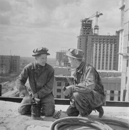 С. О. Фридлянд. Строительство МГУ. 1951–1952. Фото: PastVu