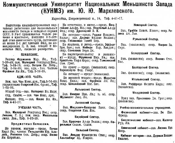 Информация о КУНМЗ в справочнике «Вся Москва». М. 1927