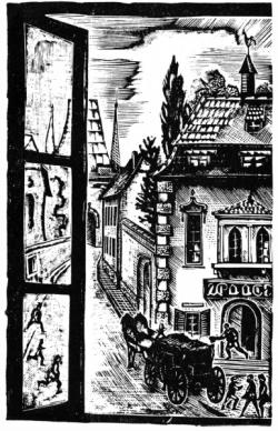 Л. С. Хижинский. Иллюстрация к «Новеллам» Г. Келлера. Фото: «Academia». 1922–1937. Выставка изданий и книжной графики. М.: Книга, 1980